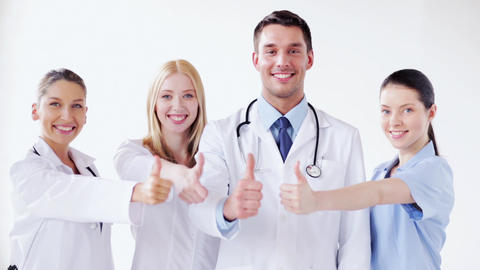 group of doctors with thumbs up Footage