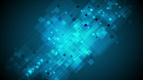 Dark blue squares and arrows tech video animation Animation