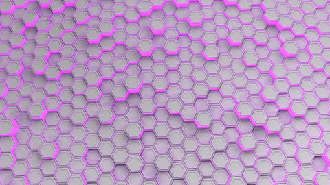 Wall of white hexagons with purple glow Animation