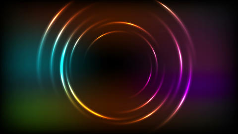 Shiny glowing colorful neon rings video animation Animation