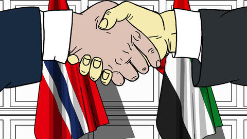 Businessmen or politicians shake hands against flags of Norway and UAE. Official Footage