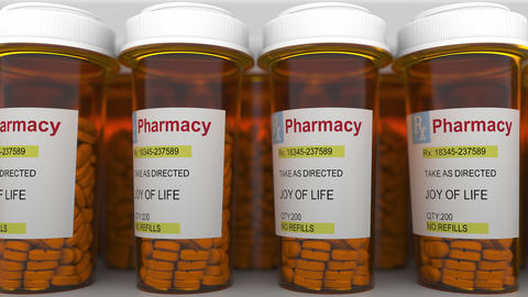 JOY OF LIFE caption on pill prescription bottles Footage