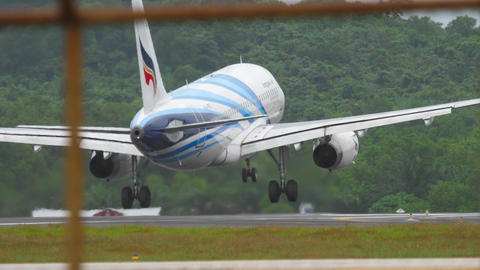 Airbus A319 landing at Phuket airport Footage