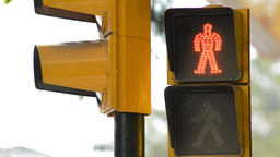 Traffic light for pedestrians in red turning into green Footage