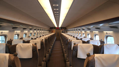 Green car or first class cabin of bullet train Live Action