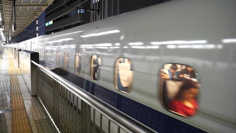 Departure of bullet train from Shin Yokohama station Live Action