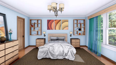 Cozy modern bedroom interior 3D animation Footage