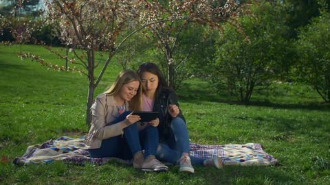 Carefree multiethnic women with tablet pc on park lawn Footage
