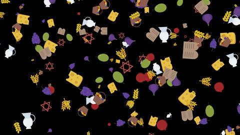 Shavuot holiday flat design animation background with traditional symbols Animation