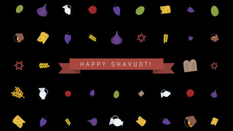 Shavuot holiday flat design animation background with... Stock Video Footage