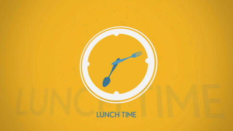 Lunch time clock symbol animation CG動画素材