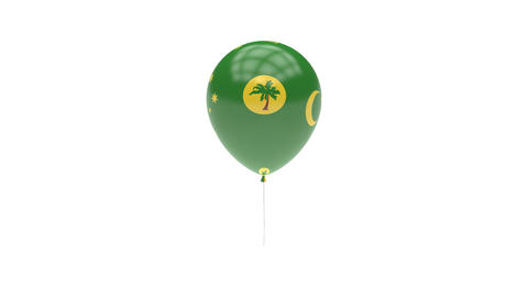 Cocos Islands Balloon Rotating Flag Animation - Alpha Channel - Transparent Animation