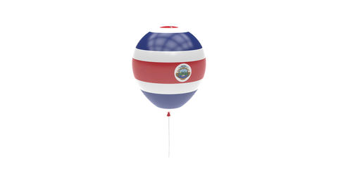 Costa Rica Balloon Rotating Flag Animation - Alpha Channel - Transparent Animation