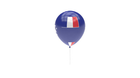 French Southern and Antarctic Lands Balloon Rotating Flag Animation - Alpha Chan Animation