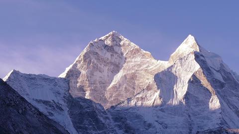 Kangtega Peak Sunrise Himalayas Mountains Zoom In 4k Footage