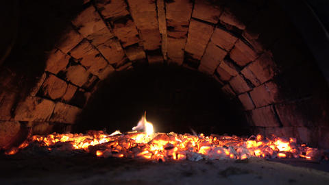 Fire And Coals In An Old Mysterious Oven GIF