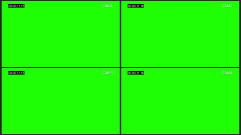 Cctv four cam screen chroma key Animation