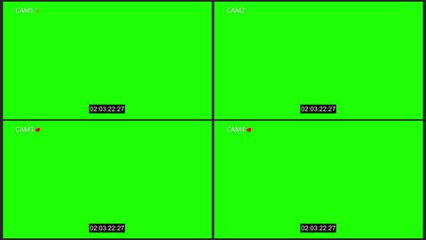 Cctv four cam with rec dot chroma key 애니메이션