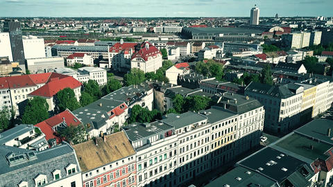 Aerial view of Leipzig on a sunny day, Germany Footage