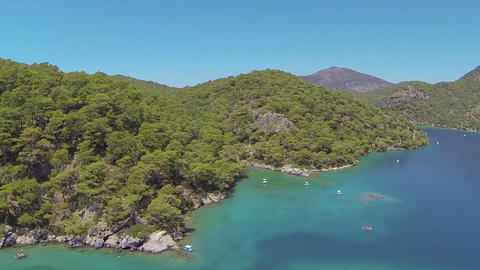 Oludeniz Blue Lagoon from above at Fethiye in Turkey Country Footage