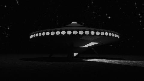 Vintage Alien Invasion: Flying Saucer Landing (Black and White) GIF
