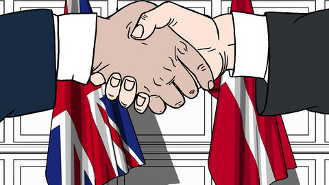 Businessmen or politicians shake hands against flags of Britain and Denmark Live Action