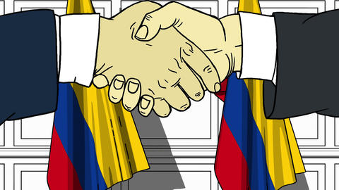Businessmen or politicians shake hands against flags of Colombia. Official Footage