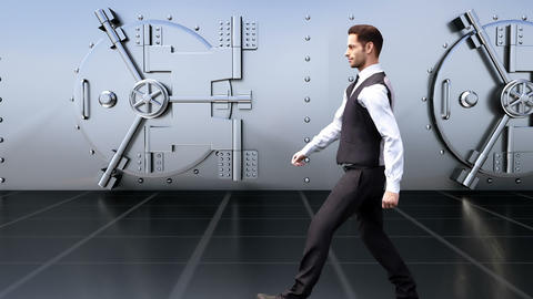 A young businessman goes by the safe in the Bank. Loopable Animation