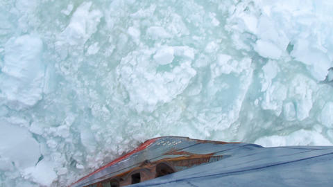 Bow Of A Ship Going Through Pack Ice In Antarctica Footage