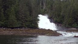 Unique landscape of the mountain river waterfall background of water in Alaska Footage