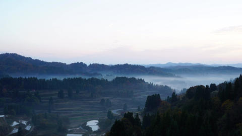 Rice terraces spread of the sea of clouds Footage