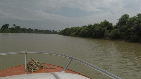 Battambang Province, Cambodia - Circa March 2018: boat Trip from Siem Reap to ビデオ