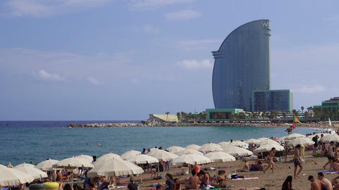 Barcelona, Spain bathers on a Mediterranean beach GIF