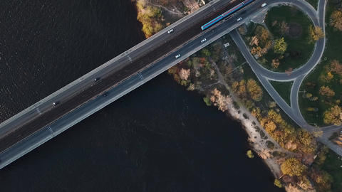 Top view of the metro bridge in Kiev, Ukraine. Lively traffic. Accelerated Footage