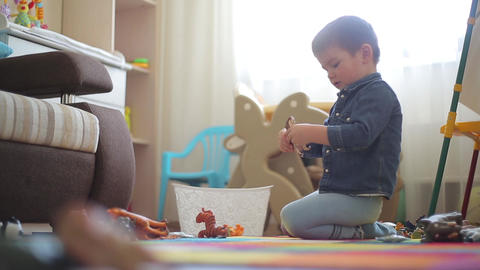 Little boy playing on the floor with different animals Footage