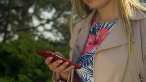Female hand networking on smart phone in park Footage