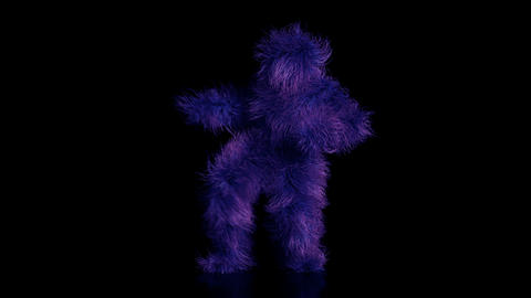 Realistic animation of a fun, hairy monster celebrating a victory Live Action