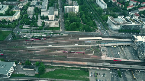 Aerial shot of shot of multiple railroad tracks near Dresden railway station Footage