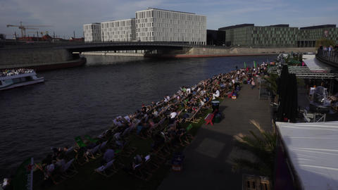 Berliners Rest On Spree River Bank, Berlin, Germany GIF