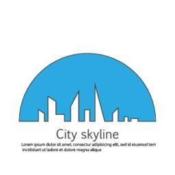 Silhouette of the city in a flat style. Modern urban landscape. Vector ベクター