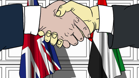 Businessmen or politicians shake hands against flags of Britain and UAE Live Action