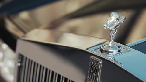 Lvov, Ukraine, September 30, 2017 Rolls-Royce car The silk mark of the car GIF