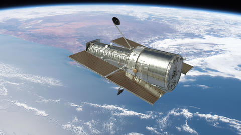 Hubble Space Telescope Floating Above Earth Animation