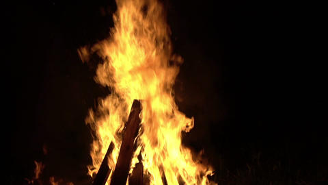 Large Bonfire At Night Footage