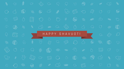 Shavuot holiday flat design animation background with traditional outline icon 애니메이션