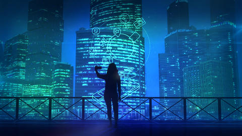 Girl does selfie on a background of skyscrapers and social media infographics フォト