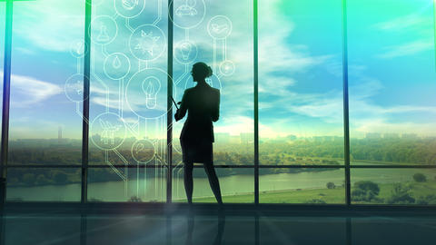 Improve the environmental situation, the silhouette of a woman in the office Fotografía