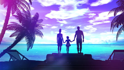 Family on the shore of the ocean Photo