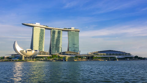 Evening Overlooking Marina Bay Sands Hotel. Time Lapse GIF