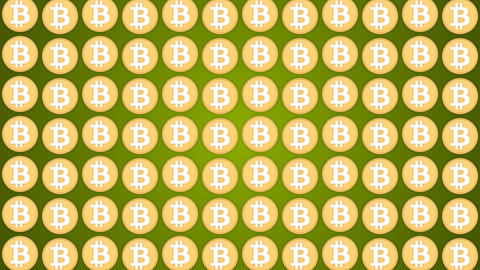 Bitcoin cryptocurrency green background coins pattern traffic vertical Animación